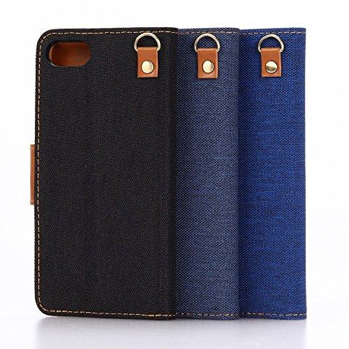 Apple iPhone 7Sac étui Cover Case de protection Bleu Style Jeans decui Bleu Housse en simili cuir
