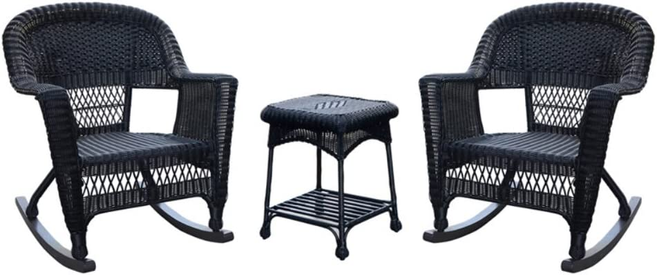 Jeco 3pc Wicker Rocker Chair Set in Black with Brown Cushion