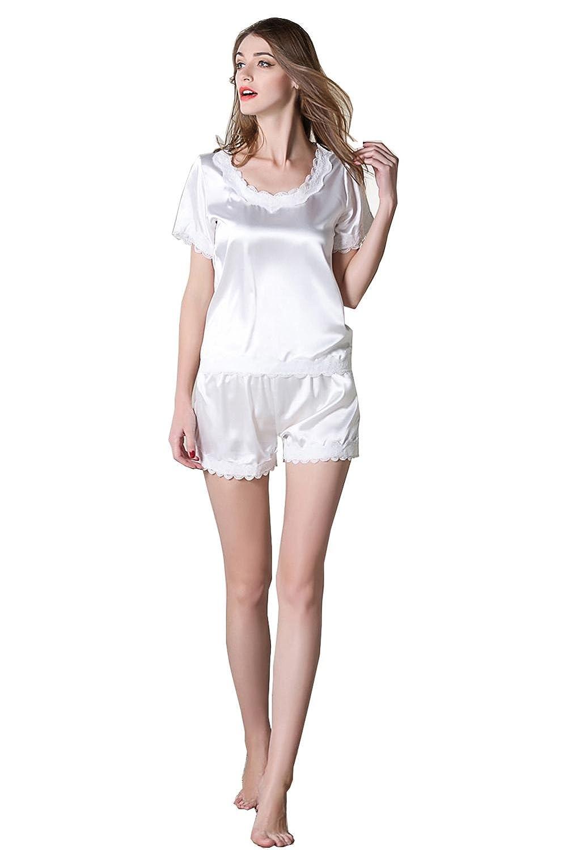 Camisones de seda de verano de las señoras Pantalón corto y pantalón corto para mujer Set de dos piezas para dormir Conjuntos de pijamas Camisón de ropa de ...