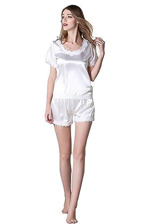 Camisones de seda de verano de las señoras Pantalón corto y pantalón corto para mujer Set