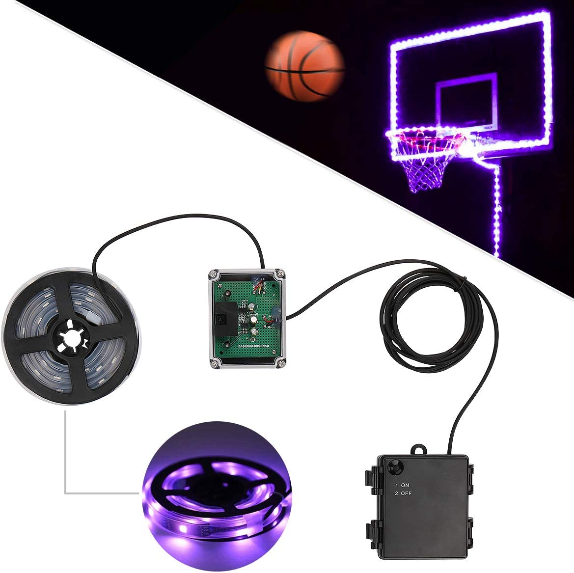PiscatorZone LED Basketball Hoop Light, Goal Induction Innovative Outdoor High Precision Induction Color Changing LED Light Bar Basketball Hoop Lamp