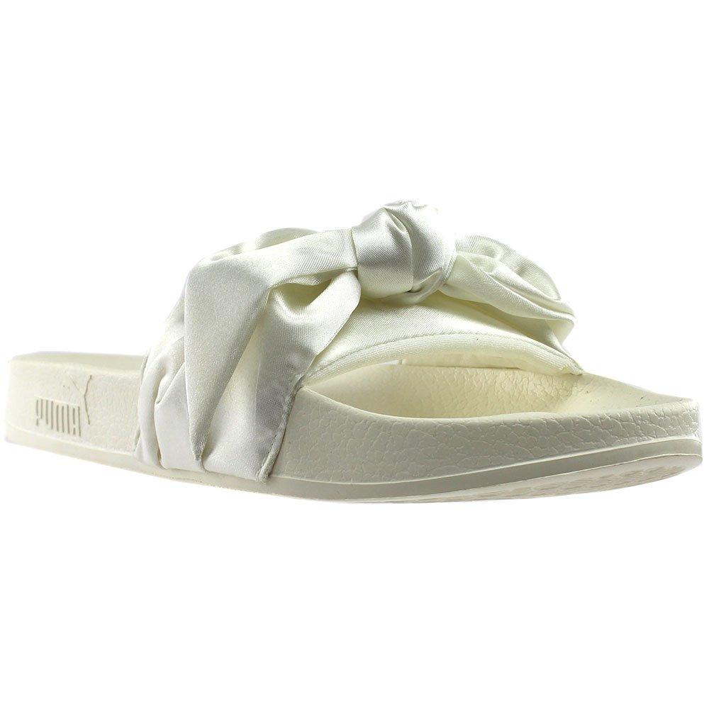 Puma Women s Bow Slide Fenty Rihanna Marshmallow Silver Sandal ... 4e0fd1350