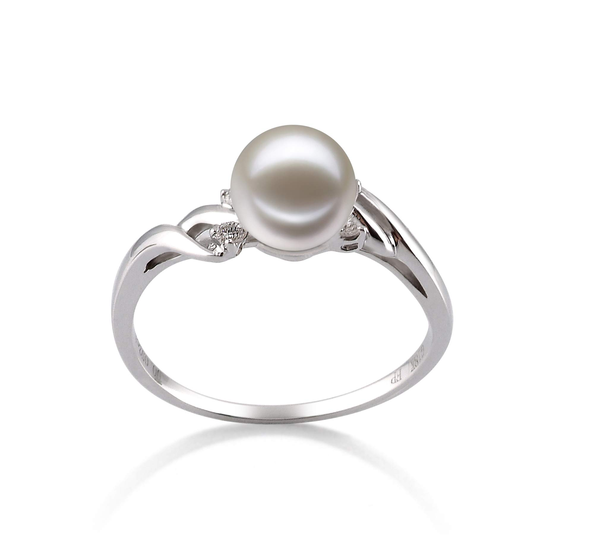 Andrea White 6-7mm AAAA Quality Freshwater 14K White Gold Cultured Pearl Ring For Women - Size-8