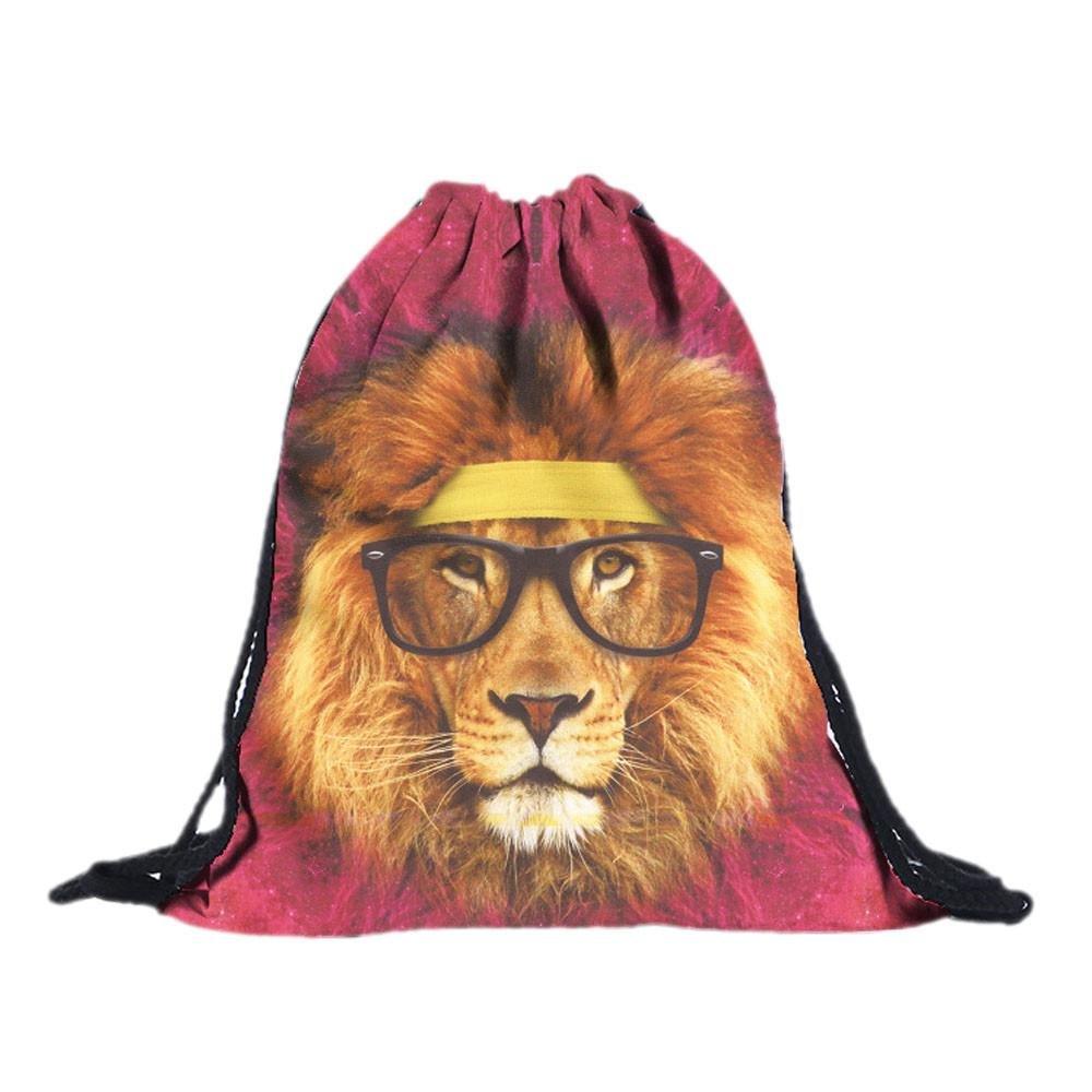 Backpack, Doinshop Unisex Stylish Lion 3D Printing Drawstring Bags (A)