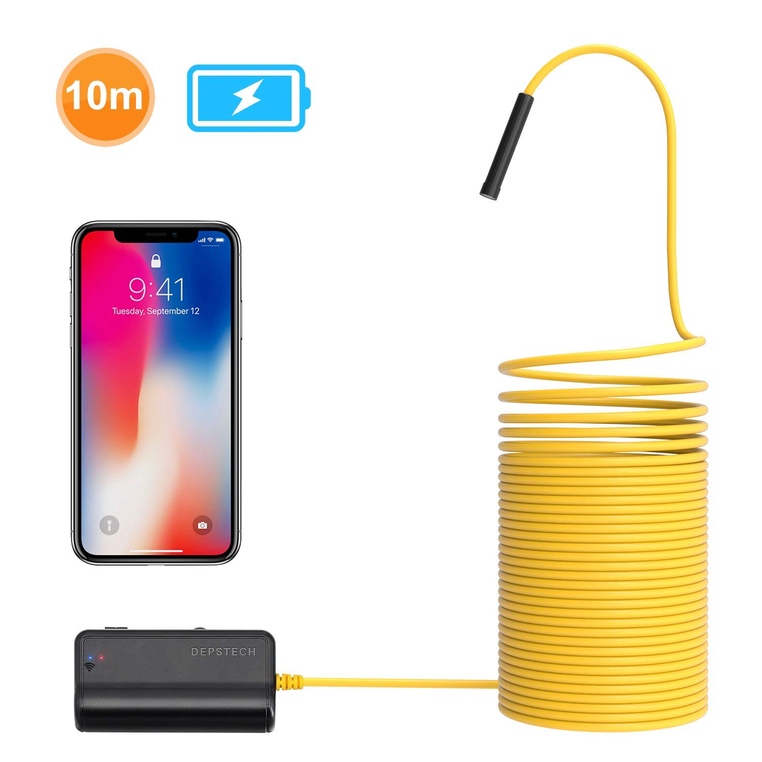 DEPSTECH 1200P Semi-Rigid Wireless Endoscope, 2.0 MP HD WiFi Borescope Inspection Camera,16 inch Focal Distance & 2200mAh Battery Snake Camera for Android & iOS Smartphone Tablet-33ft by DEPSTECH