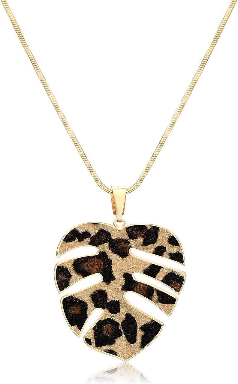 Unique Pendant Statement Necklace Black Animal Print Jewelry Ivory Handmade Necklaces for Women Cheetah Latte Leopard Print