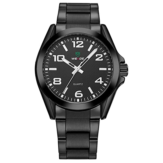 WEIDE Reloj analógico cuarzo reloj redondo moda hombre de Classic Sport resistencia al agua de acero