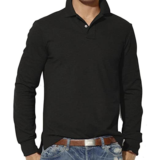 5ba061eb48939b Sagton Men's Blouse, Solid Slim Long Sleeve Plain Polo Shirt (S, Black)