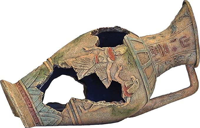 Rosewood Ornamento de urna egipcia con lazo azul de palisandro