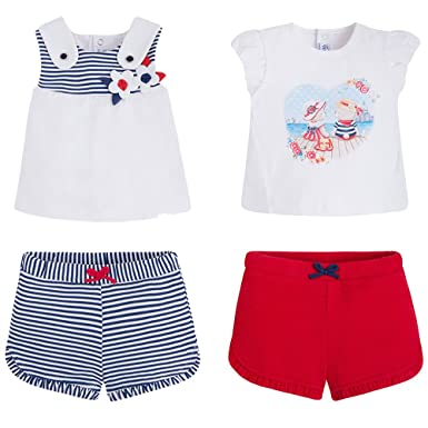 6b5d710f2a1b Mayoral 2 Pack Gift Set of Baby Girls Mix   Match Ruffled Short   Top  Outfits