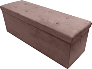 Sorbus Storage Ottoman Bench – Collapsible/Folding Bench Chest with Cover – Perfect Toy and Shoe Chest, Hope Chest, Pouffe Ottoman, Seat, Foot Rest, – Contemporary Faux Suede (Large-Bench, Chocolate)
