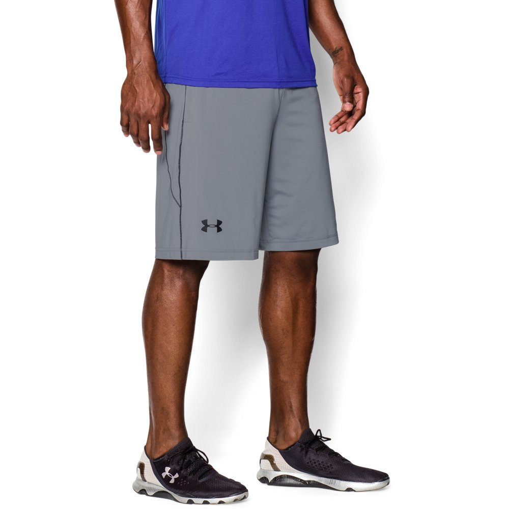 Under Armour Men's Raid 10-inch Workout Gym Shorts, Steel (035)/Black, 4X-Large Tall by Under Armour
