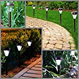 Solario Garden Decor Solar Powered Lights- Set of 10- Decorative Stainless Steel Lamps- Wireless Outdoor Security Light- LED Accent Lighting (Bronze)