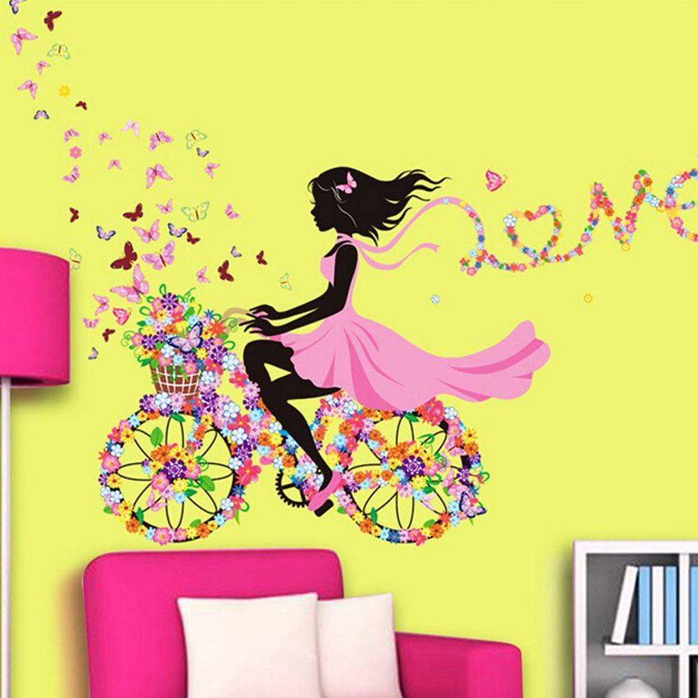SWORNA Nature Series SN049 Flower Butterfly Girl on Bicycle ...