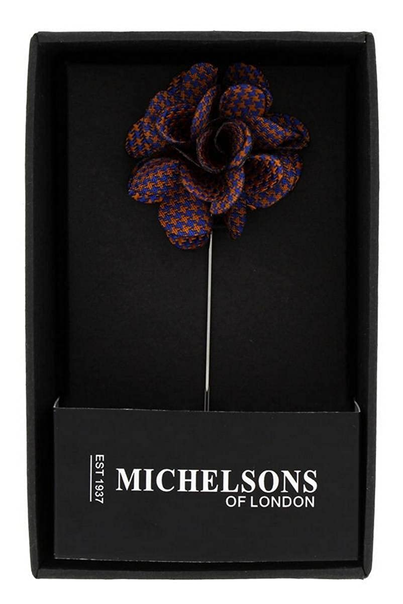 Michelsons of London Mens Puppy Tooth Flower Lapel Pin Royal Blue//Orange