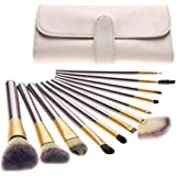 Makeup Brushes 24pcs Quality Natural Cosmetic Brush Set With Leather Pouch 24 Count Bursh set For Eye Shadow Blush Concealer(Cream-Coloured)