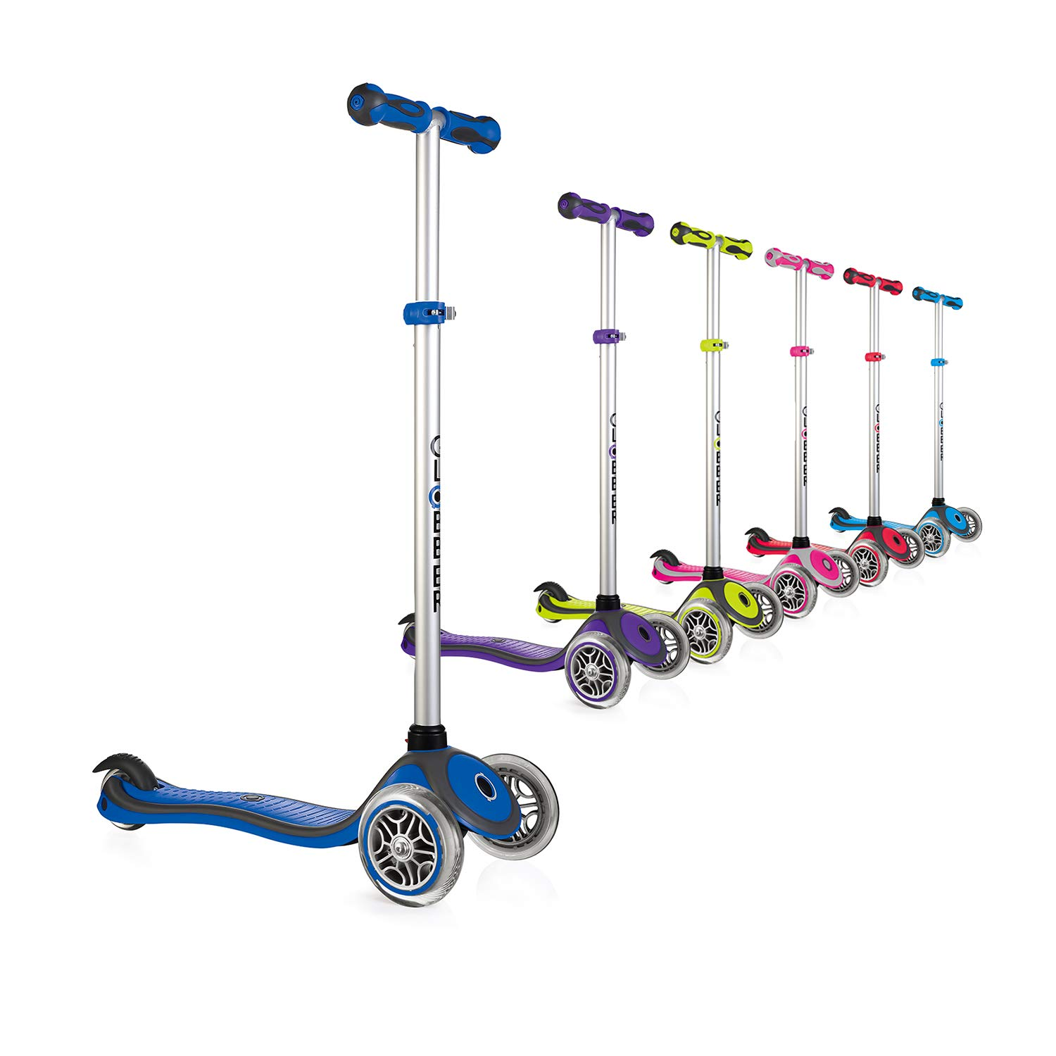 Globber 3 Wheel Adjustable Height Scooter (Blue/Gray) by Globber