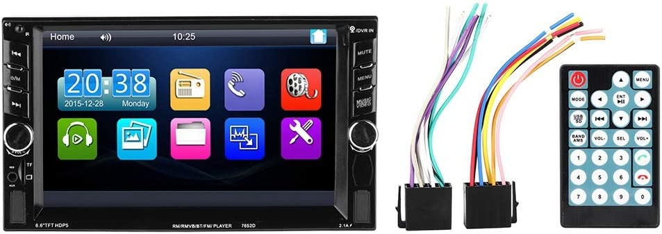 compatible con Bluetooth manos libres Coche MP5 pantalla t/áctil HD de 6.6 pulgadas 2 Din MP5 Reproductor de MP3 Radio FM est/éreo para autom/óvil C/ámara trasera Bluetooth