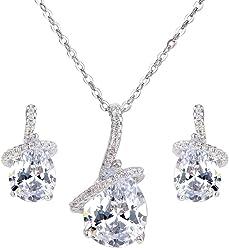 d6f6ce318 EleQueen Women's Prong Cubic Zirconia Ribbon Teardrop Bridal Pendant  Necklace Dangle Earrings Set