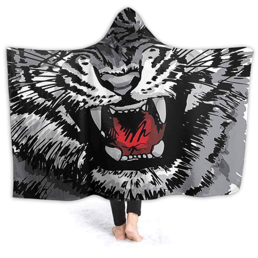 prunushome Hooded Blanket Charismatic Tiger Territorial Predator Power Unique Patterns Grey Super Soft Neon Blanket Boho Style Sherpa Fleece Blanket, 80W by 60H Inches