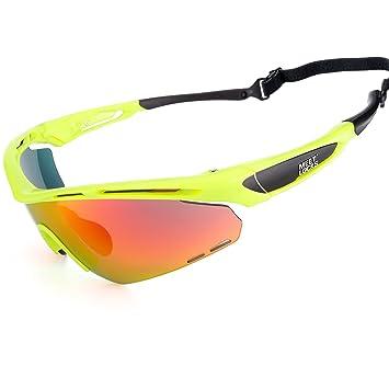8c45ebda73 MEETLOCKS Gafas de Sol de Ciclismo Deporte,Marco TR90 HD Lente Anti Niebla  Protección UV400 Gafas de Sol Deportivas,35g/par,Súper ...