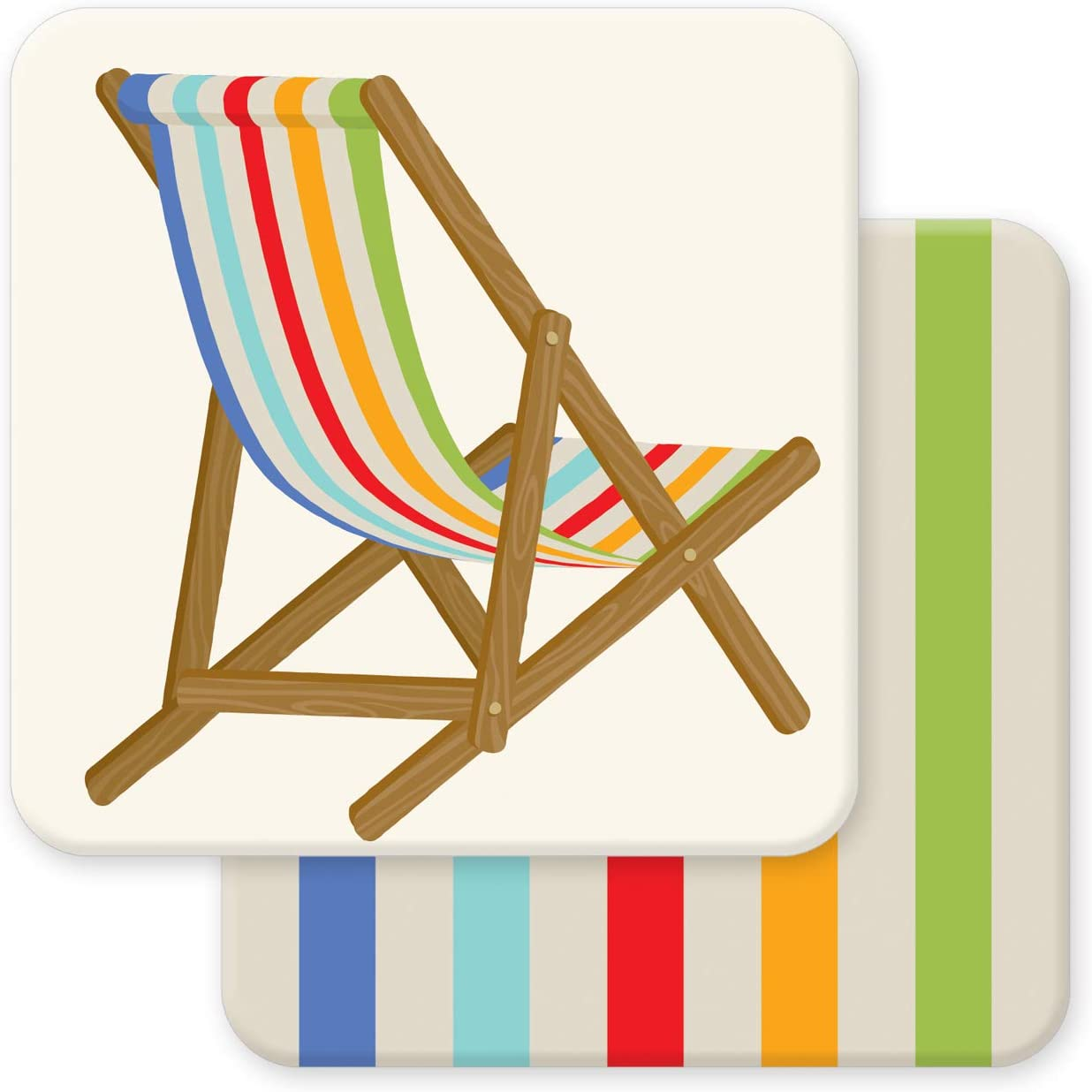 Multicolored Beach Chair Reversible Set of 10 Decorative Absorbent Coasters 4 x 4 inches Easy Elegant Entertaining Housewarming Everyday Indoor Outdoor Biodegradable Eco-Friendly by Faux Designs