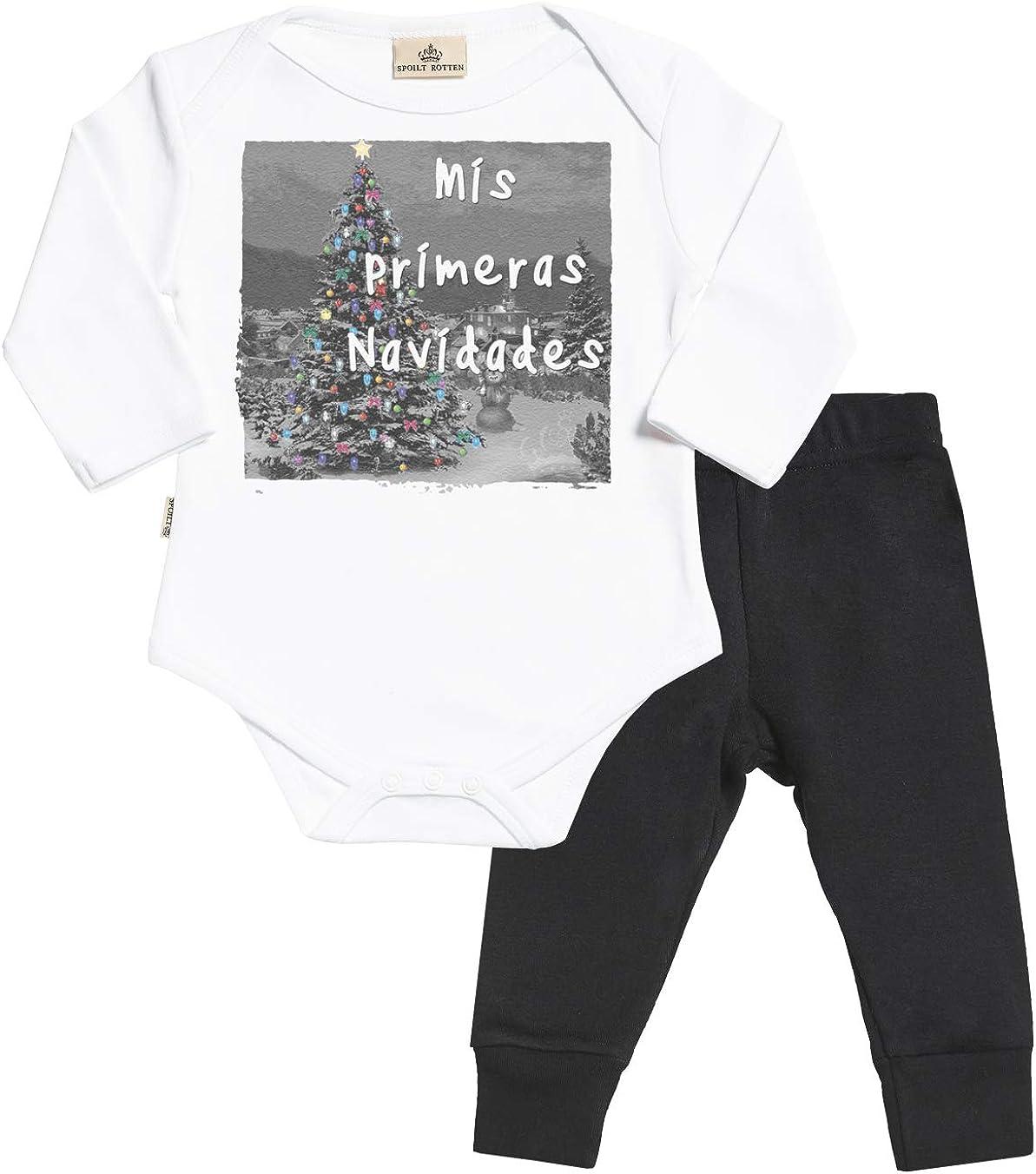 Spoilt Rotten SR - Mis primeras Navidades Regalo para bebé - Azul Body para bebés & Negro Pantalones para bebé - Ropa Conjuntos para bebé