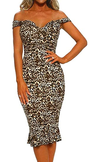 540a078be3 Fubotevic Womens Sexy Leopard Print Off The Shoulder Bodycon Fishtail  Cocktail Party Midi Dress 1 S