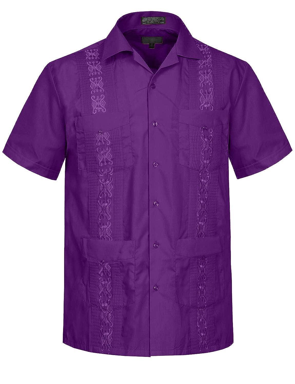 LOVNY Mens Casual Short Sleeve Cuban Guayabera Button Down Shirts Top XS-4XL J