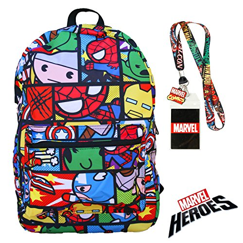 Marvel Heroes Kawaii Avengers Backpack with Lanyard Badge and Keychain Charm