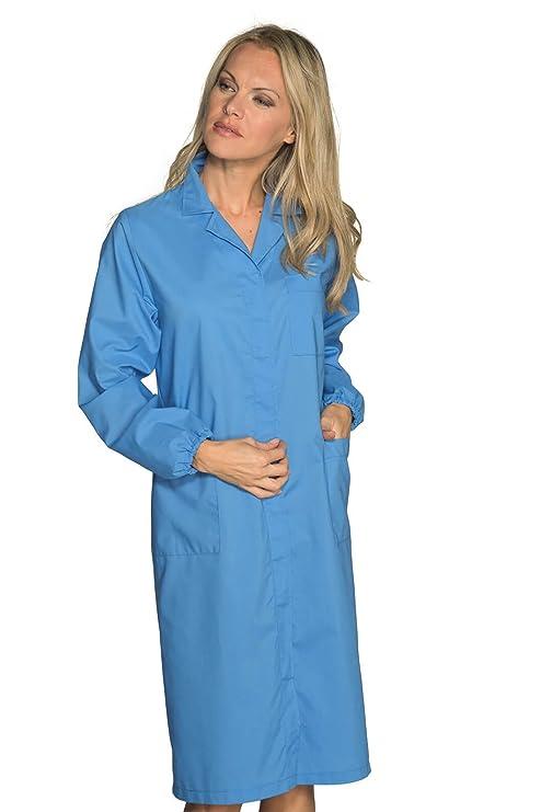 Isacco - Bata Laboratorio Mujer Prevención de Riesgos Azul: Amazon.es: Ropa y accesorios