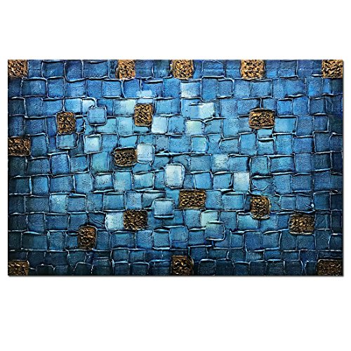 Asdam Art Abstract Blue Painting Framed 100% Hand Made 3D Oil Painting On Canvas Modern Home Office Hotel Wall Art for Living Room Bedroom Dinning Room(24X36inch) by Asdam Art