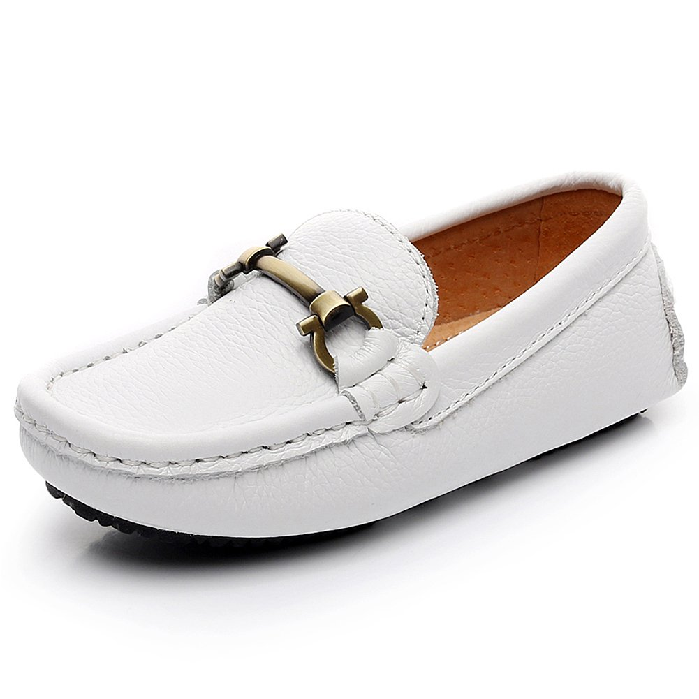 Shenn Boy's Girl's Slip On Buckle Dress Leather Loafers Shoes 8771K(White,3.5 US Big Kid)