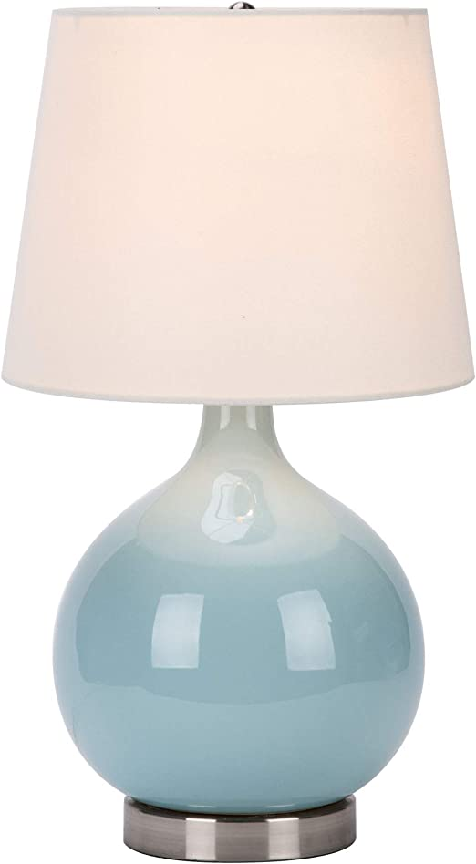 CO-Z Modern Blue Table Lamp Ceramic, 19 Inches White Desk Lamp with LED  Bulb, Cyan Blue Turquoise Table Lamp for Accent Bedside Bedroom Living  Room, ...