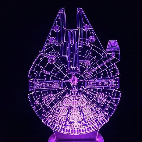 Multi-colored 3D Millennnium Falcon Light Star Wars Wood Mood Lamp Lighting  Gadget