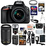 Nikon D5600 Wi-Fi Digital SLR Camera 18-55mm VR & 70-300mm DX AF-P Lenses + 64GB Card + Case + Flash + Video Light + Battery/Charger + Tripod Kit
