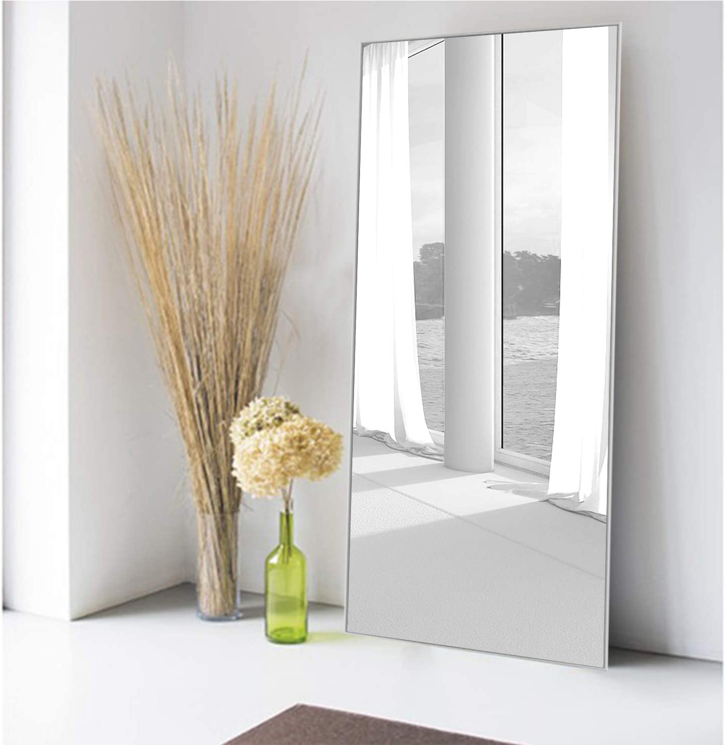 MIRUO Full Length Mirror Decor Wall Mounted Mirror Floor Mirror Dressing Mirror Make Up Mirror Bathroom/Bedroom/Living Room/Dining Room/Entry, Silver, 47