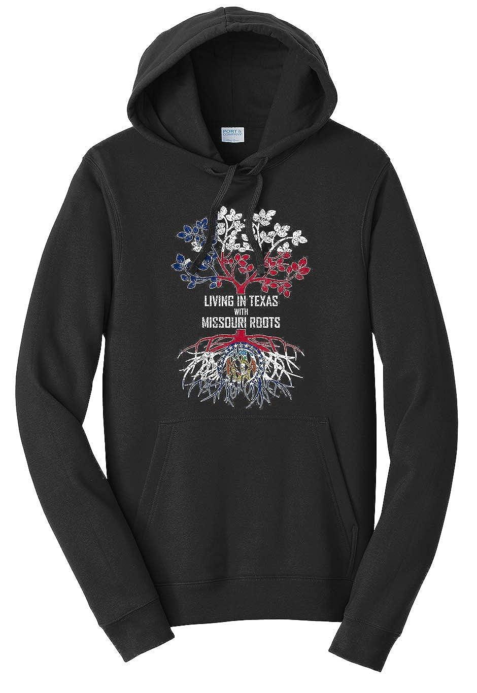 Tenacitee Unisex Living in Texas with Missouri Roots Sweatshirt