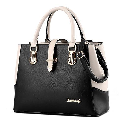 f2642fde0c Tibes Fashion Top-Handle Handbag Girls College Purse Black  Amazon ...
