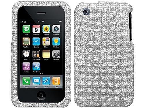 Importer520 Full Rhinestone Diamond Diamante Faceplate Protector Hard Case Cover Accessory for Apple iPhone 3 3G 3G S (Silver (Iphone 3g Rhinestone)