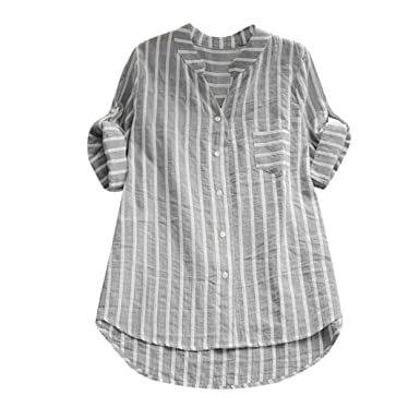 NREALY Womens Cotton Striped Three Quarter Sleeve Shirt Casual Loose Blouse Button Tops(S,