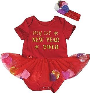 Petitebella My 1st New Year 2018 Red Bodysuit Petals Flowers Baby Dress Nb-18m