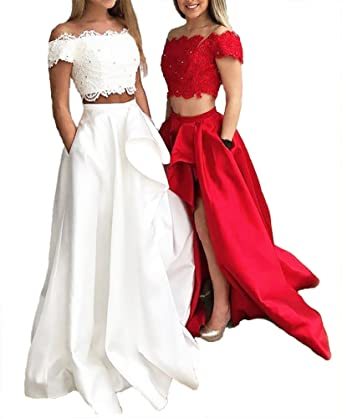 962fdefb59f Callmelady Two-Piece Long Prom Dresses 2019 Lace Appliqued Satin with  Pockets (Red