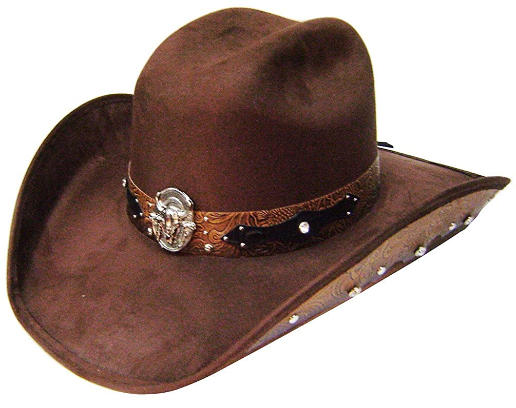 Modestone ''Felt Feel'' Cowboy Hat Leather-Like Appliques Rhinestones Brown 9789