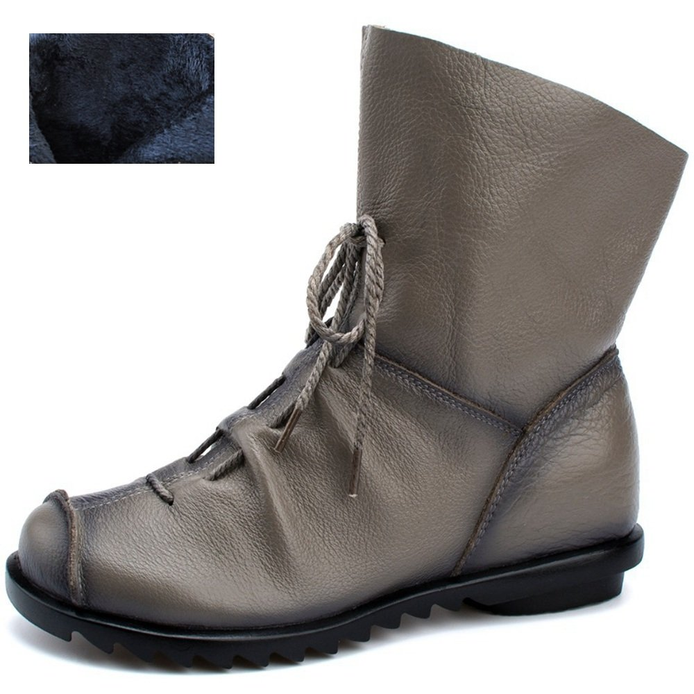 Women's Genuine Leather Casual Soft Flat Boots B076QDH4Q4 8.5 B(M) US|Gray- Fur-lined