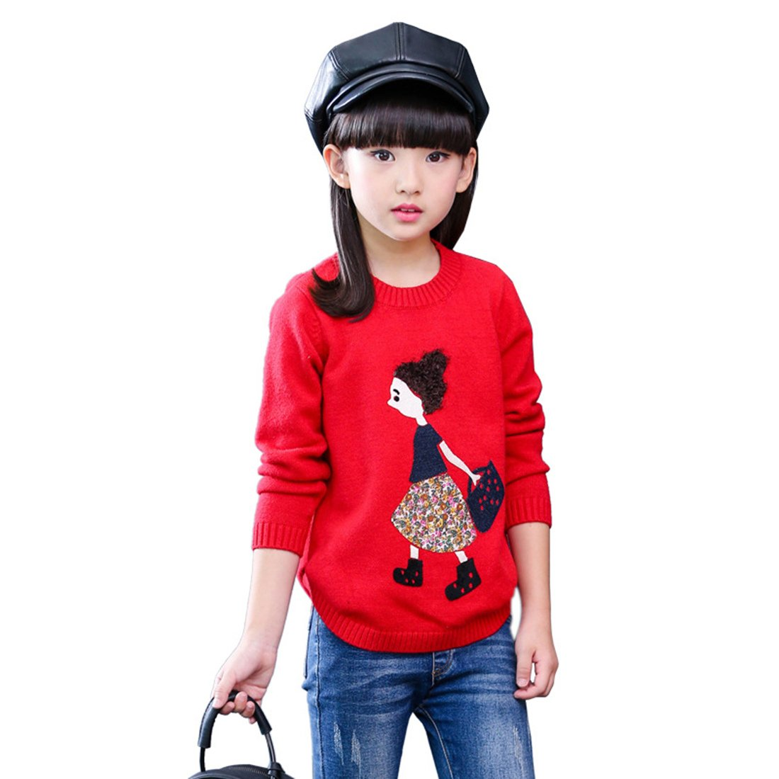 MV Girls Sweaters Hedging Children Sweater Knit Korean Version Large Round Neck