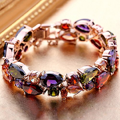 Rigant Teardrop and Round Cut AAA Multi-Color Cubic Zirconia Bracelets Fashion Jewelry Rose Gold Plated