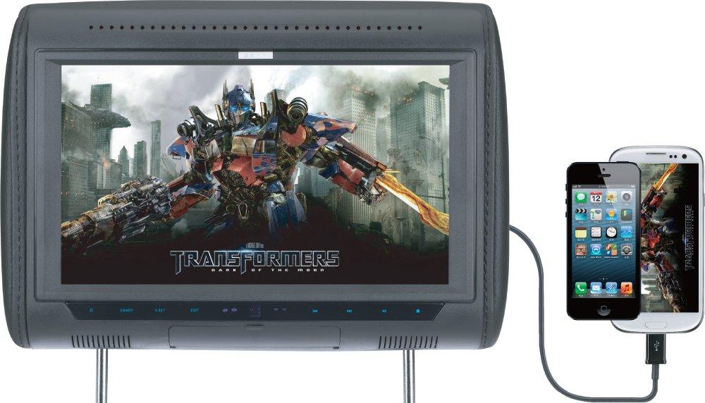 SAVV LM-T1080USH 10.1-Inch Wide Smart-Link Rainbow Headrest Pillow Monitor with Full HD 1080p Digital Media Player