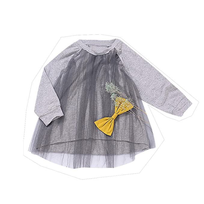 Vovotrade 0-4 años Bebé niño pequeño Manga larga Tops blusa Falda Encaje Vestido de