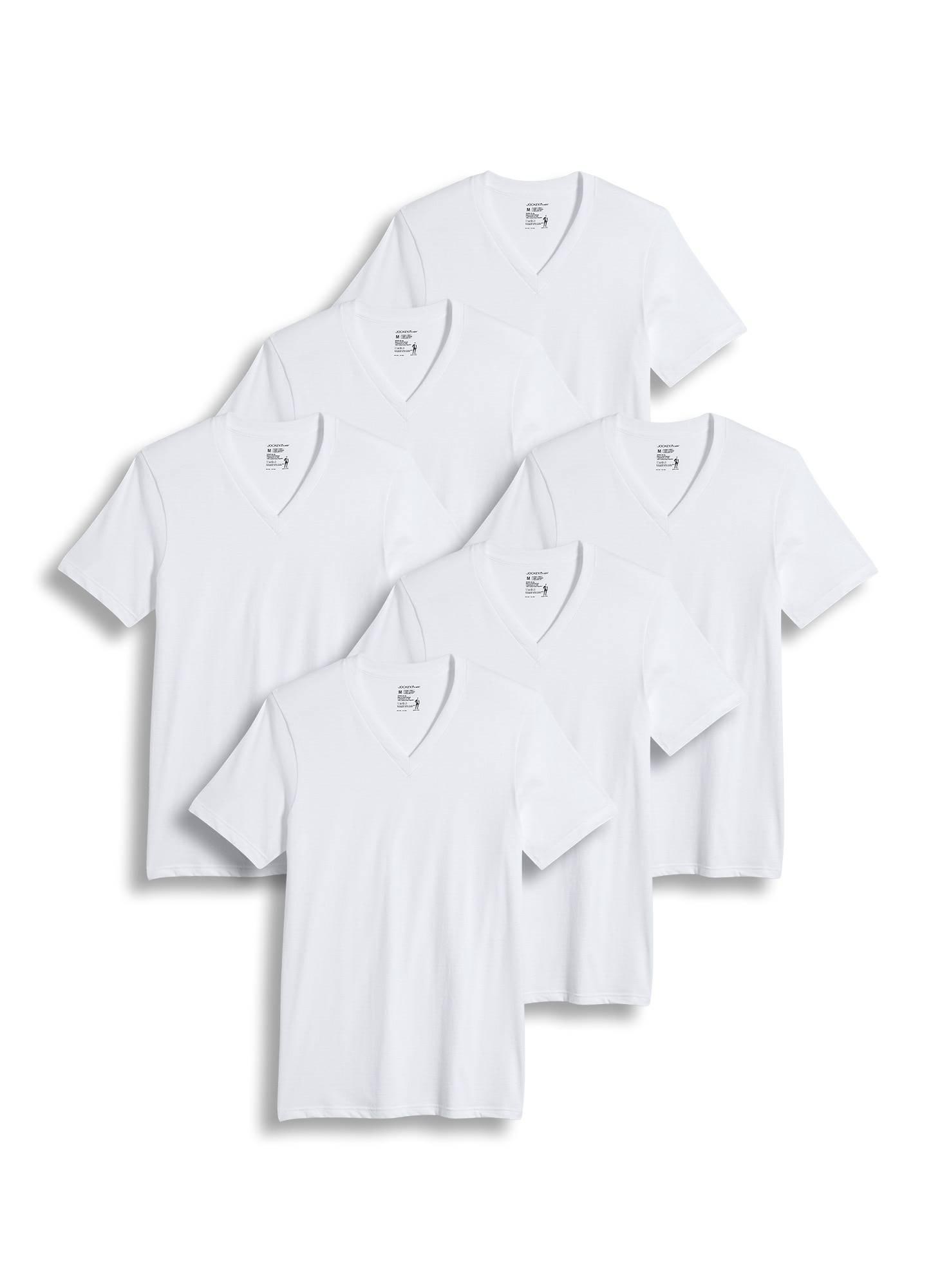 Jockey Men's T-Shirts Big & Tall Classic V-Neck T-Shirt - 6 Pack, Diamond White, XLT